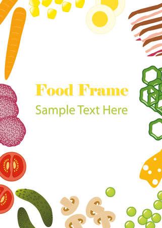 comidas saludables: alimento marco Vectores