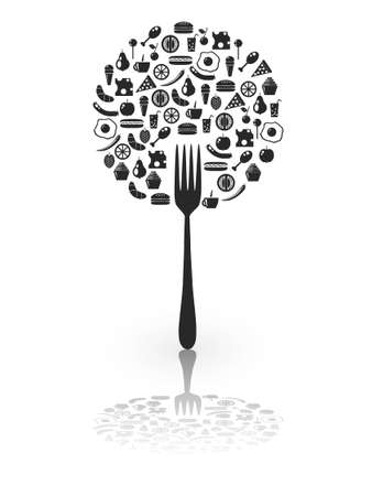 food on the fork Vector