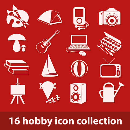 16 hobby icon collection Vector