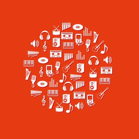 pictogrammes musique: ic�nes de la musique dans le cercle