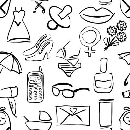 seamless doodle pattern with women theme images Vector