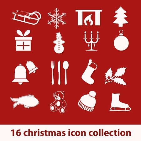 16 christmas icon collection Vector