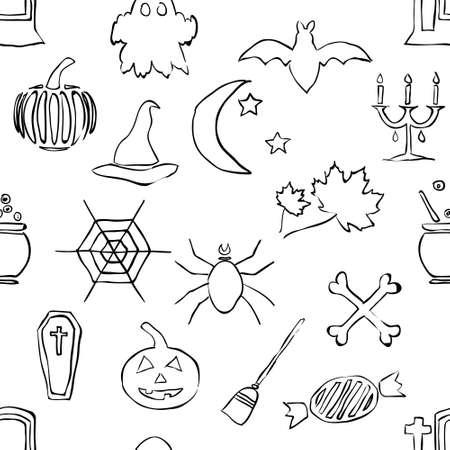seamless doodle halloween pattern Stock Vector - 15073148