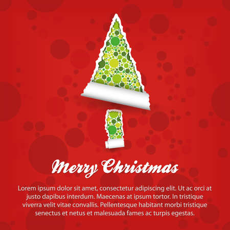 merry christmas - green and red paper Stock Vector - 15073171