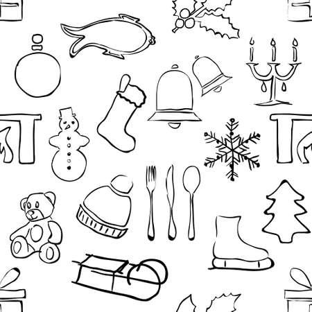 seamless doodle christmas pattern Illustration