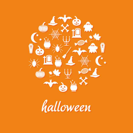 halloween icons in circle Vector