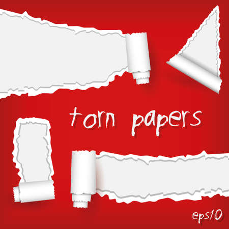 set of torn papers Stock Vector - 15073170