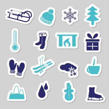 winter stickers Stock Vector - 15073160