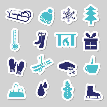 christmas fireplace: winter stickers