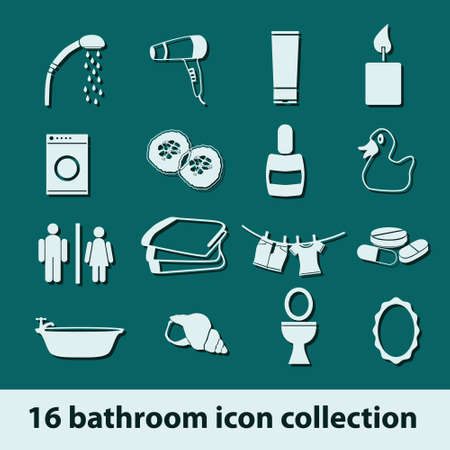 16 bathroom icon collection Vector