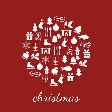 christmas icons in circle Stock Vector - 15302731