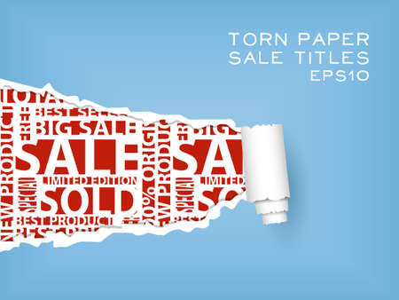 destroy: blue torn paper with red sale titles Illustration