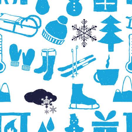 coffe tree: doodle winter seamless pattern