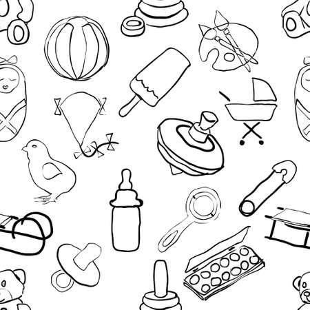 feeding: seamless doodle baby pattern Illustration