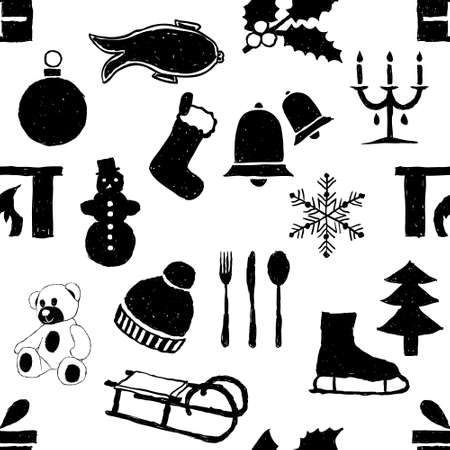 seamless doodle christmas pattern Stock Vector - 15350705