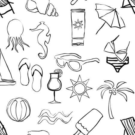 doodle beach seamless pattern Vector