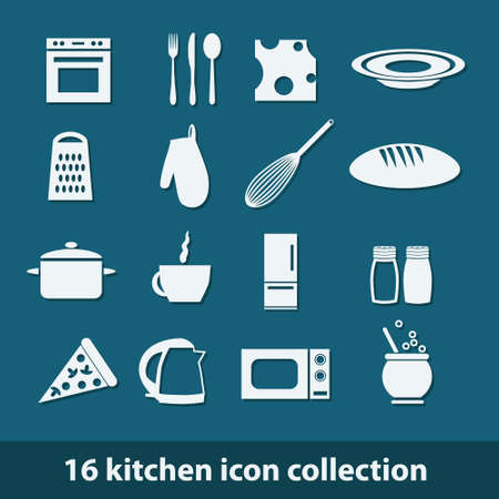 16 kitchen icon collection Vector