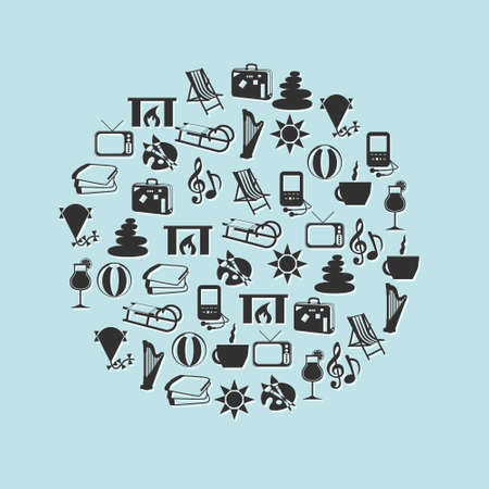 relax icons in circle Stock Vector - 15466947