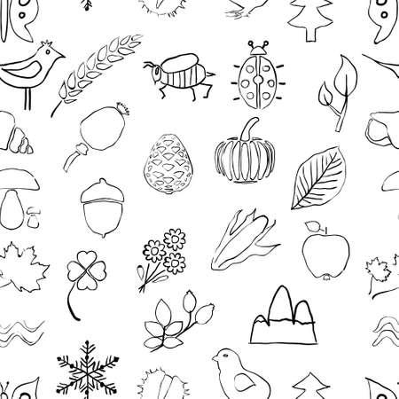 water chestnut: doodle seamless nature pattern Illustration