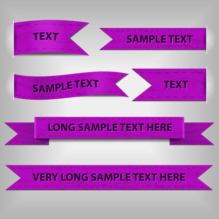 violet ribbons with sample text Vector