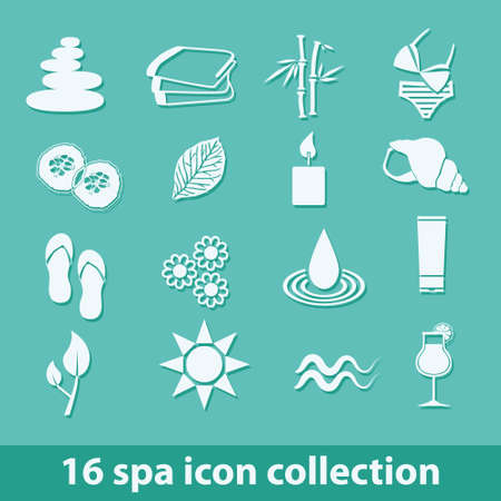 spa resort: 16 spa icons collection Illustration