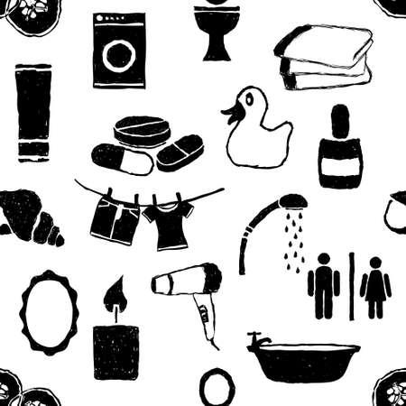 cram: doodle bathroom seamless pattern Illustration