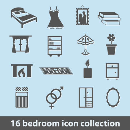 bedlinen: 16 bedroom icon collection Illustration