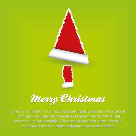 merry christmas - green and red paper Stock Vector - 15893088