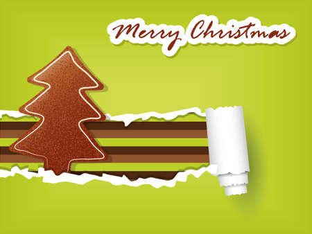 gingerbread christmas tree and green torn paper Vector