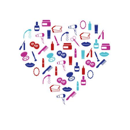 lipstick brush: cosmetics icons in heart