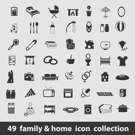 49 family and home icon collection Vector