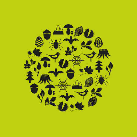 forest icons in circle Vector