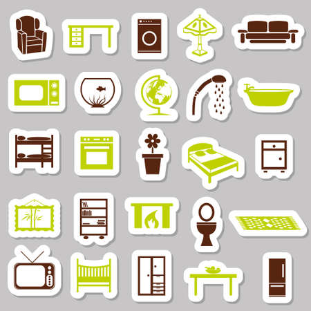 home equipment stickers Stock Vector - 15893087