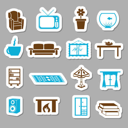 rug: living room stickers Illustration
