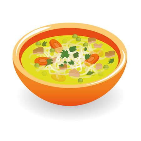 bulion: Zupa rosół wołowy Ilustracja