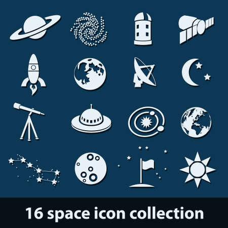 platillo volador: 16 espacio icono de la colección Vectores