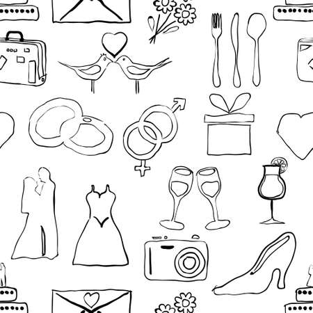 proposing a toast: seamless doodle wedding pattern