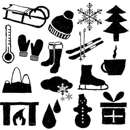 doodle winter pictures Stock Vector - 15893090