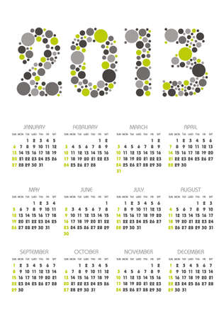 vertical calendar 2013 year with retro dots theme Stock Vector - 16041371