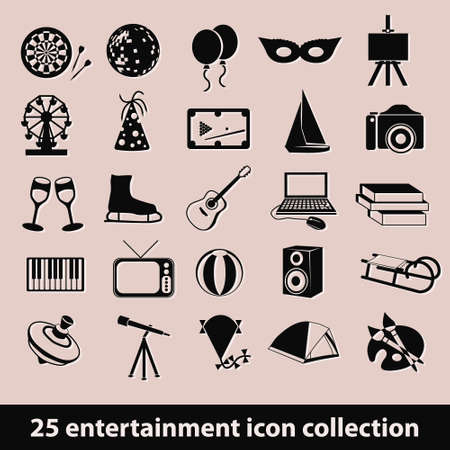 25 entertainment icon collection Vector