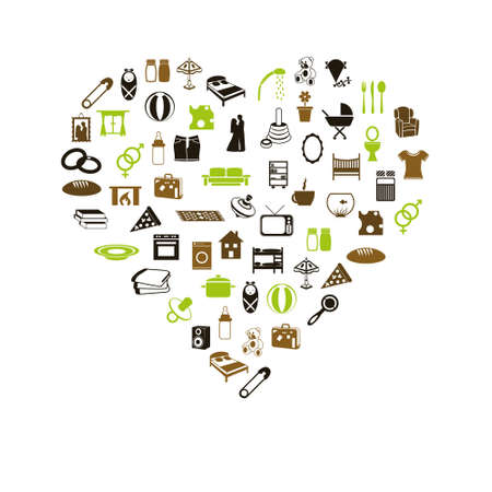 family and home icons in heart Vector