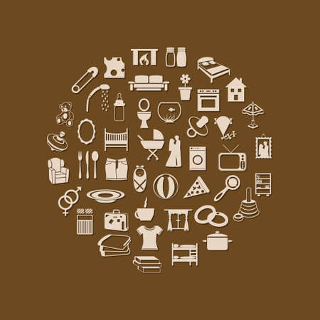 family and home icons in circle Vector