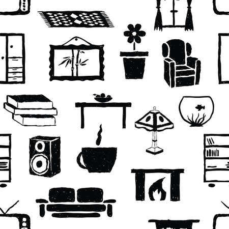 seamless doodle living room pattern Stock Vector - 16041343