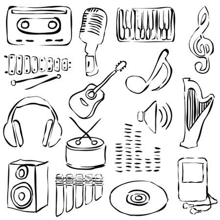 music loudspeaker: music doodle images Illustration