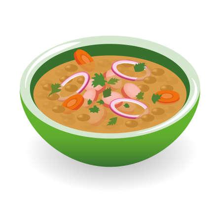렌즈 콩: 렌즈 콩 수프 일러스트