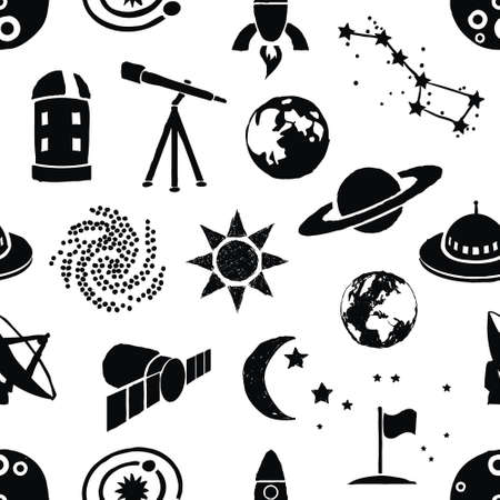 observatory: seamless doodle space pattern Illustration