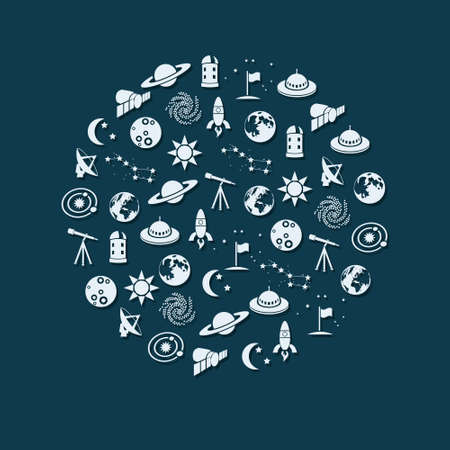 space icons in circle Vector