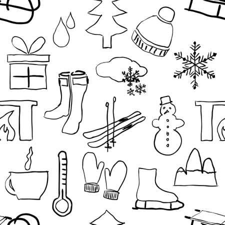 coffe tree: seamless sketch winter pattern Illustration