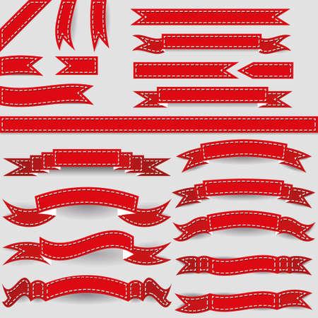 hem: set of red ribbons Illustration