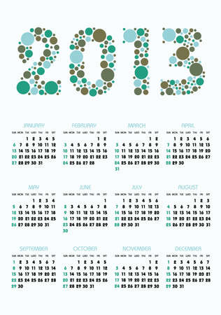 vertical calendar 2013 year with retro dots theme Vector